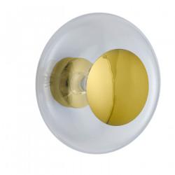 Plafonnier verre soufflé Horizon Transparent, diamètre 36 cm, Ebb & Flow, centre métal doré
