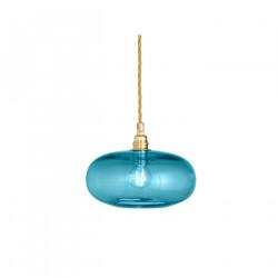 Petite suspension verre soufflé Horizon Bleu Océan déchainé, diamètre 21 cm, Ebb & Flow, douille et câble dorés