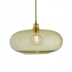 Luminaire suspension verre soufflé Horizon Vert olive, diamètre 36 cm, Ebb & Flow, douille et câble dorés