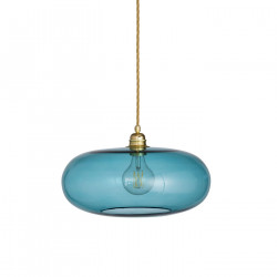 Luminaire suspension verre soufflé Horizon Bleu Océan déchainé, diamètre 36 cm, Ebb & Flow, douille et câble dorés
