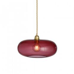 Luminaire suspension verre soufflé Horizon Rouge Rubis, diamètre 36 cm, Ebb & Flow, douille et câble dorés