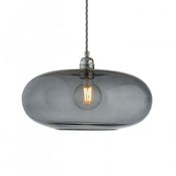 Luminaire suspension verre soufflé Horizon Gris fumé, diamètre 36 cm, Ebb & Flow, douille et câble argentés