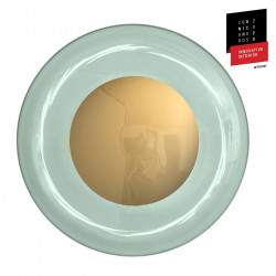 Plafonnier verre soufflé Horizon Vert forêt, diamètre 36 cm, Ebb & Flow, centre métal doré