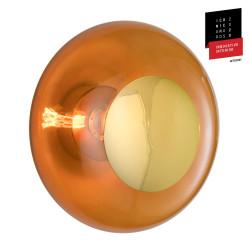 Plafonnier verre soufflé Horizon Toast, diamètre 36 cm, Ebb & Flow, centre métal doré