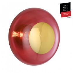 Plafonnier verre soufflé Horizon Rouge Rubis, diamètre 36 cm, Ebb & Flow, centre métal doré