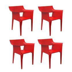 Lot de 4 chaises Pedrera, Vondom rouge