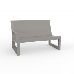 Module droit pour salon de jardin design Frame, Vondom taupe avec coussins en tissu Silvertex