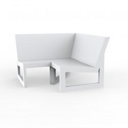 Module d'angle 90° pour canapé angle exterieur Frame, Vondom blanc avec coussins en tissu Silvertex