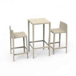 Set Spritz table et 2 tabourets, hauteur d'assise 66cm, Vondom ecru