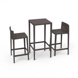 Set Spritz table et 2 tabourets, hauteur d'assise 66cm, Vondom bronze