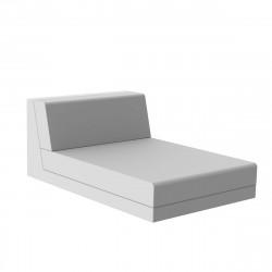 Salon de jardin design Pixel, module chaise longue, Vondom, tissu Silvertex blanc