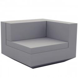 Module gauche canapé Vela, Vondom, 100x100xH72cm gris argent