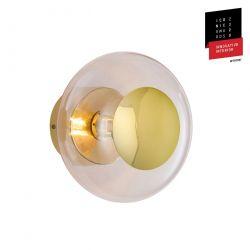 Applique et plafonnier bulle de verre soufflé Horizon Corail, diamètre 21 cm, Ebb & Flow, centre métal doré