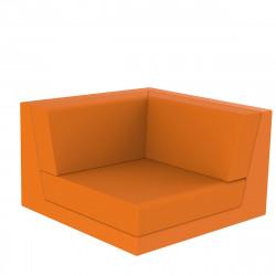 Canapé composable outdoor Pixel, module d'angle, Vondom, tissu Silvertex Orange