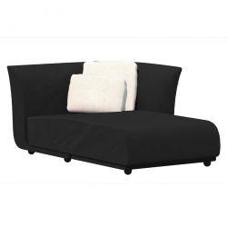 Salon d'été Suave, module chaise longue gauche, Vondom, tissu déperlant Gris anthracite 1044
