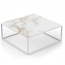 Table basse design carrée Suave 100x100xH40cm, Vondom, Dekton Entzo blanc et pieds blancs