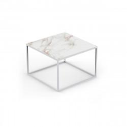 Table basse design Pixel 60x60xH25cm, Vondom, Dekton Entzo blanc et pieds blancs