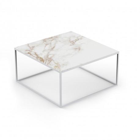 Table basse contemporaine Pixel 80x80xH25cm, Vondom, Dekton Entzo blanc et pieds blancs