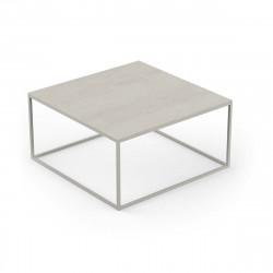 Table basse contemporaine Pixel 80x80xH25cm, Vondom, Dekton Danae écru et pieds écru