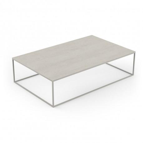 Table basse design rectangulaire Pixel 160x100xH25cm, Vondom, Dekton Danae écru et pieds écru