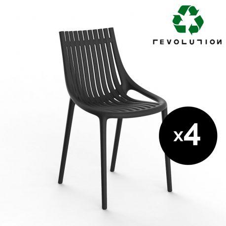 Lot de 4 Chaises Ibiza Revolution® à barreaux en plastique recyclé, Vondom noir Manta 4022