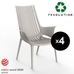 Lot de 4 Fauteuils lounge en plastique recyclé Ibiza Revolution®, Vondom beige Cala 4021