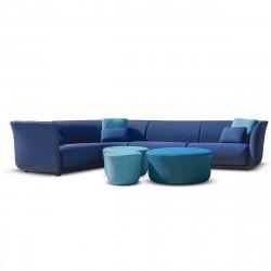 Ensemble canapé d'angle outdoor Suave, Vondom, tissu déperlant bleu Outre-Mer 1002 et Aquamarina 1003