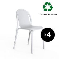 Lot de 4 chaises Brooklyn Revolution® en plastique recyclé, Vondom blanc Milos 4023