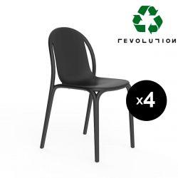 Lot de 4 chaises Brooklyn Revolution® en plastique recyclé, Vondom Noir Manta 4022