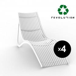 Lot de 4 chaises longues design ondulées Ibiza Revolution® en plastique recyclé, Vondom blanc Milos 4023