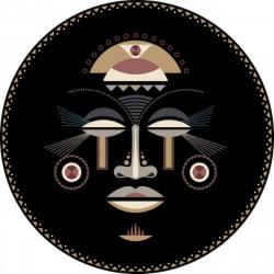Tapis vinyle rond, masque africain femme, diamètre 145cm, collection Baba Souk, Pôdevache