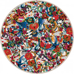 Tapis vinyle rond, mélange de tatouages, diamètre 198cm, collection Tattoo Compris, Pôdevache