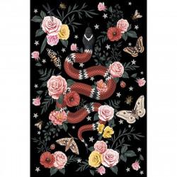 Tapis vinyle serpent fond noir rectangulaire, 198x285cm, collection Tattoo Compris, Pôdevache