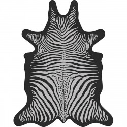 Tapis Zèbre XXL, vinyle forme peau de bête, Pôdevache, gris clair fond noir