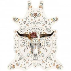 Tapis buffle fond blanc L, vinyle forme peau de bête, 126x159cm, collection Baba Souk, Pôdevache