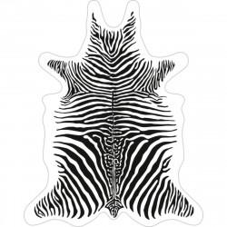 Tapis Zèbre fond blanc L, vinyle forme peau de bête, 126x159cm, collection Baba Souk, Pôdevache