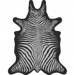 Tapis Zèbre fond noir XL, vinyle forme peau de bête, 148x187cm, collection Baba Souk, Pôdevache