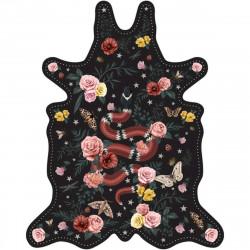 Tapis serpent fond noir XXL, vinyle forme peau de bête, 198x250cm, collection Tattoo Compris, Pôdevache