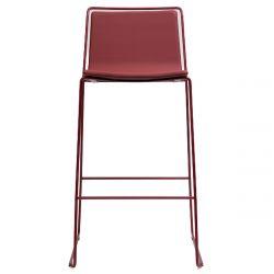 Tabouret haut design Alo, hauteur d'assise 65cm, structure acier noir et tissu skye noir et rouge Ondarreta