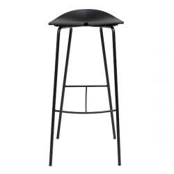 Tabouret haut Ant, hauteur d'assise 79cm, structure en acier noir et assise noire, Ondarreta