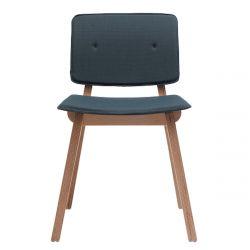 Chaise rétro Mikado, structure en bois et assise tissu Steelcut trio 3 bleu-gris, Ondarreta