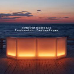 Bar Dublin lumineux à ampoules, module d'angle, MyYour blanc
