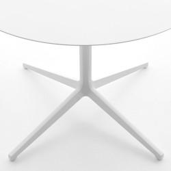 Table ronde outdoor Ypsilon, plateau laminé blanc, Pedrali, H74 Ø129
