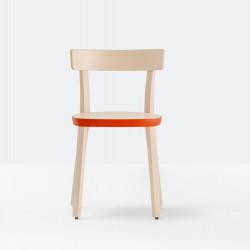 Lot de 2 chaises Folk 2930, frêne clair, détail orange, Pedrali, H75xL45xl44.5