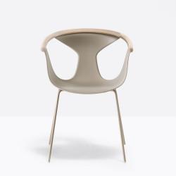 Lot de 2 fauteuils Fox 3726, assise grise, pieds gris, Pedrali, H79xL60,5xl53