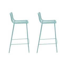 Lot de 2 Tabourets de bar filaires Nolita 3658, Pedrali bleu azur, hauteur d'assise 75 cm