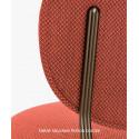 Petit fauteuil design confortable, Blume 2951, Pedrali, tissu velours Kvadrat, bleu, structure laiton, 63x63xH76,5 cm