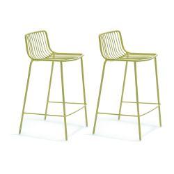 Lot de 2 Tabourets hauts métal filaire Nolita 3657, Pedrali vert, hauteur d'assise 65 cm
