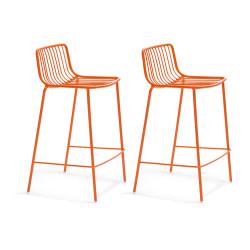 Lot de 2 Tabourets hauts métal filaire Nolita 3657, Pedrali orange, hauteur d'assise 65 cm