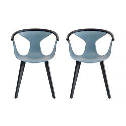 Lot de 2 fauteuils Fox 3725, assise bleu, pieds frêne noir, Pedrali, H79xL60,5xl53